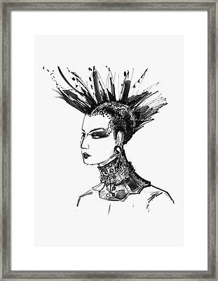 Framed Print featuring the digital art Black And White Punk Rock Girl by Marian Voicu