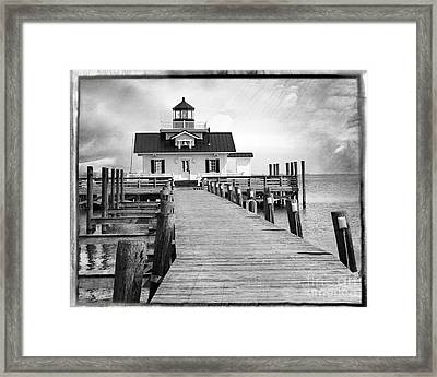 Black And White  Roanoke Lighthouse Framed Print by Tom Gari Gallery-Three-Photography