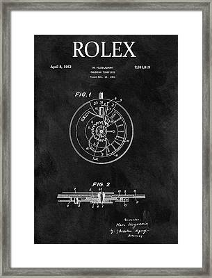Black And White Rolex Patent Framed Print by Dan Sproul