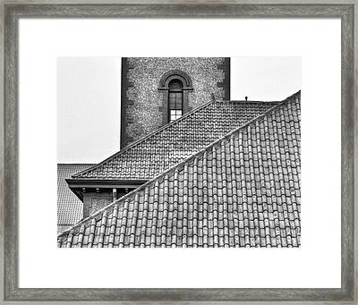 Black And White Rooflines Framed Print by Jean Noren