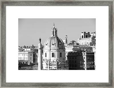 Black And White Rooftop In Rome Framed Print