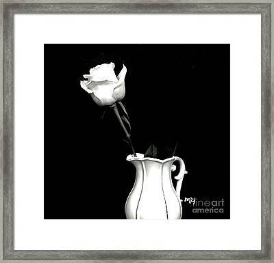 Framed Print featuring the photograph Black And White Rose Three by Marsha Heiken