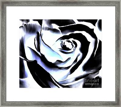 Framed Print featuring the photograph Black And White Rose - Till Eternity by Janine Riley
