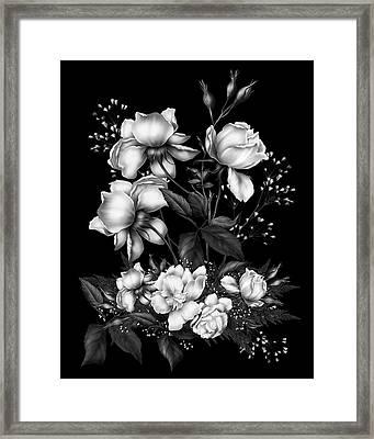 Black And White Roses On Black Framed Print by Georgiana Romanovna