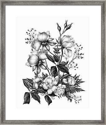 Black And White Roses On White Framed Print by Georgiana Romanovna
