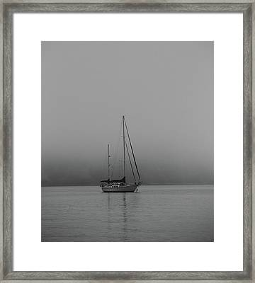 Black And White Sail Ship In Fog Framed Print by Dan Sproul