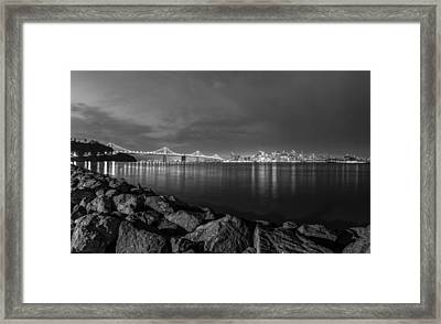 Black And White San Fransico From Treasure Island Framed Print by John McGraw
