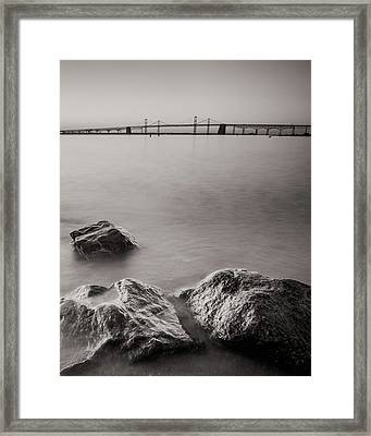 Framed Print featuring the photograph Black And White Sandy Point by Jennifer Casey