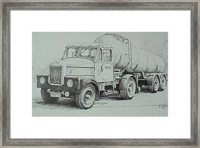Framed Print featuring the drawing Black And White Scammell. by Mike Jeffries