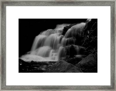 Black And White Shays Run Waterfall Framed Print
