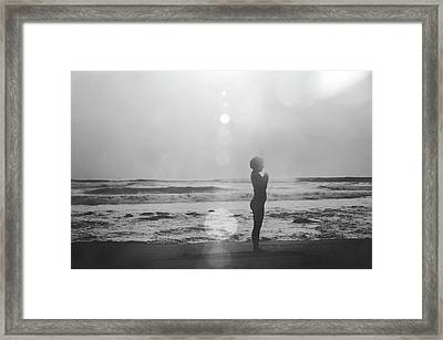 Black And White Silhouette Of A Girl Practicing Yoga On The Beach By The Sea Framed Print