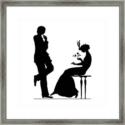 Black And White Silhouette Of A Man Giving A Woman A Flower Framed Print by Rose Santuci-Sofranko