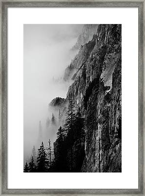 Black And White Silhouette Of The Mountains. Framed Print by Made By  Vitaliebrega.com