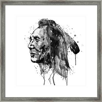 Black And White Sioux Warrior Watercolor Framed Print by Marian Voicu