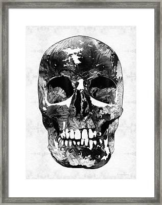 Black And White Skull By Sharon Cummings Framed Print by Sharon Cummings