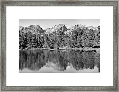 Framed Print featuring the photograph Black And White Sprague Lake Reflection by Dan Sproul