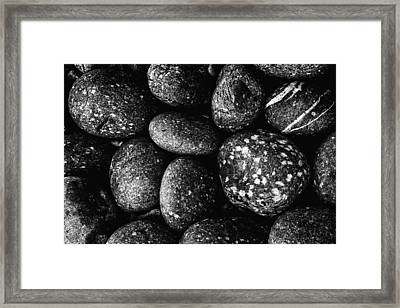Framed Print featuring the photograph Black And White Stones One by Kevin Blackburn