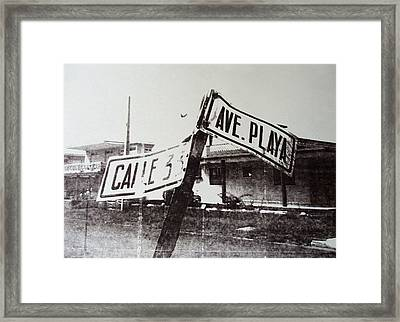 Black And White Street Sign Framed Print by David Studwell