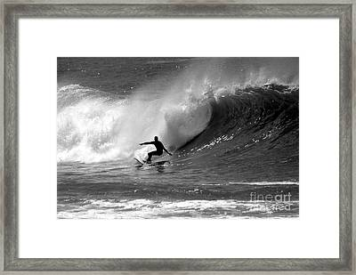 Black And White Surfer Framed Print