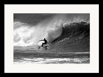Wave Surfer Framed Prints