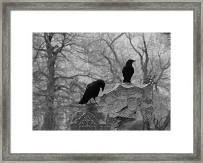 Black And White Their Favorite Haunt Framed Print by Gothicrow Images
