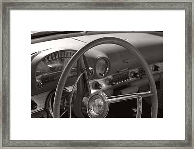 Black And White Thunderbird Steering Wheel  Framed Print