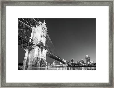 Black And White Tones - Cincinnati Ohio Downtown Skyline Framed Print
