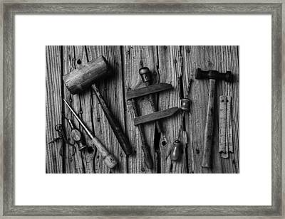 Black And White Tools Framed Print by Garry Gay