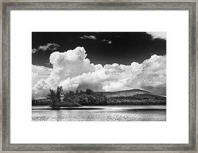 Black And White Vienna Maine Flying Pond With Storm Clouds Fine Art Print Framed Print by Keith Webber Jr
