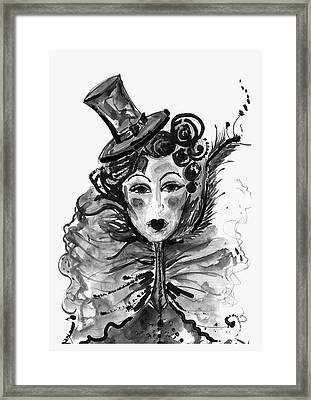Black And White Watercolor Fashion Illustration Framed Print by Marian Voicu