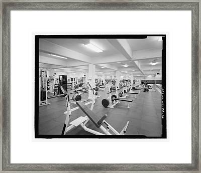 Black And White Weight Room Photograph Framed Print by PhotographyAssociates