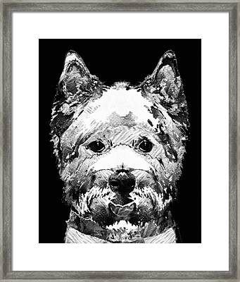 Black And White West Highland Terrier Dog Art Sharon Cummings Framed Print by Sharon Cummings