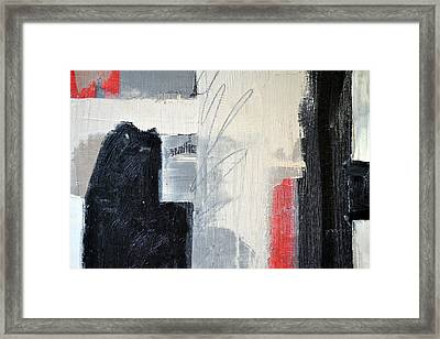Framed Print featuring the painting Black And White With Lines by Michelle Calkins