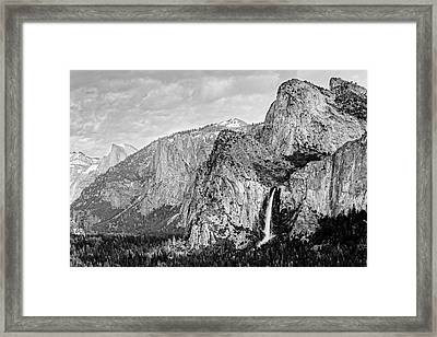 Black And Whitebridal Veil Falls Flowing Nicely At Yosemite National Park - Sierra Nevada  Framed Print