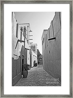 Black And Whitetraditional Middle Eastern Street In Dubai Framed Print by Chris Smith