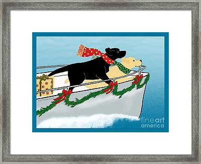 Black And Yellow Labs Boat To Christmas Framed Print