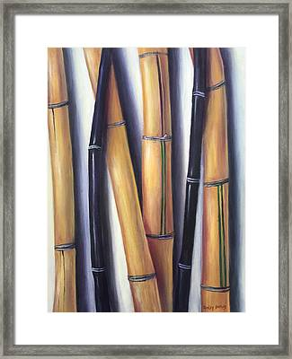 Black And Gold Bamboos Framed Print by Randy Burns