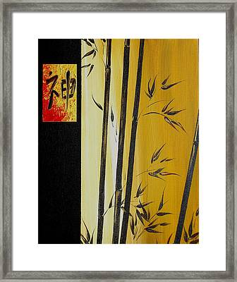 Framed Print featuring the painting Black Bamboo Zen  by Dina Dargo