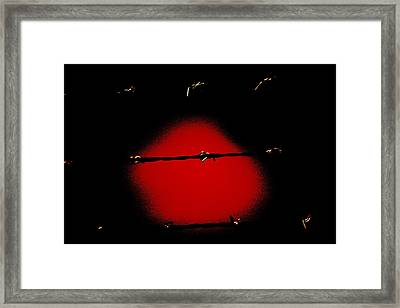 Black Barbed Wire Over Black And Blood Red Background Eery Imprisonment Scene Framed Print