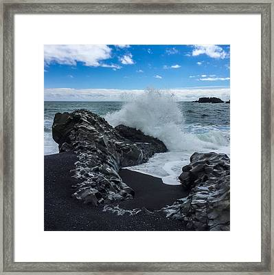 Framed Print featuring the photograph Black Beach In Iceland by Chris Feichtner