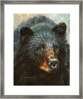 Framed Print featuring the painting Black Bear by David Stribbling