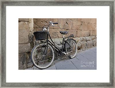 Black Bike On The Streets Of Lucca Italy Framed Print by Edward Fielding