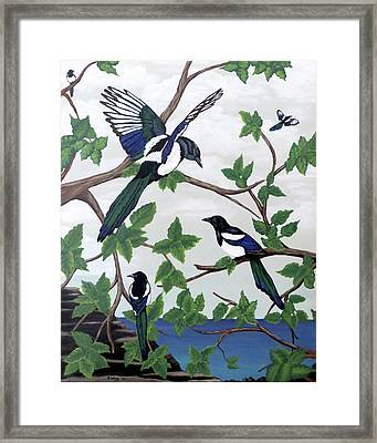 Framed Print featuring the painting Black Billed Magpies by Teresa Wing