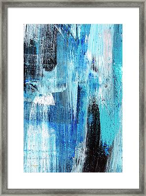 Framed Print featuring the painting Black Blue Abstract Painting by Christina Rollo