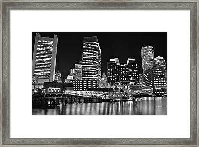 Black Boston Night Framed Print by Frozen in Time Fine Art Photography