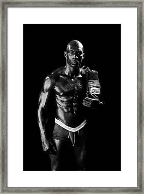 Black Boxer In Black And White 01 Framed Print by Val Black Russian Tourchin