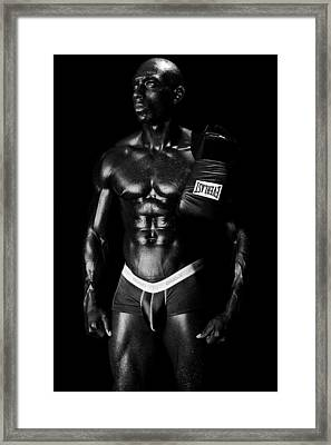 Black Boxer In Black And White 02 Framed Print by Val Black Russian Tourchin