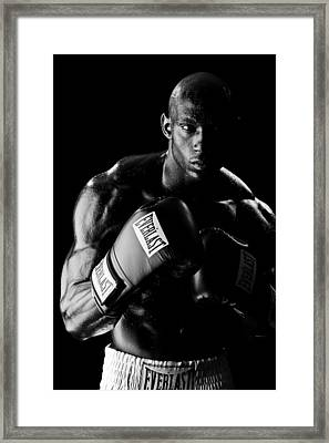 Black Boxer In Black And White 03 Framed Print by Val Black Russian Tourchin