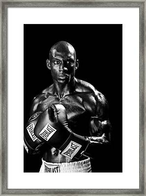 Black Boxer In Black And White 05 Framed Print by Val Black Russian Tourchin