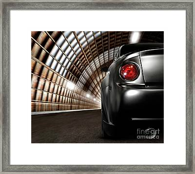Black Car In A Tunnel Framed Print